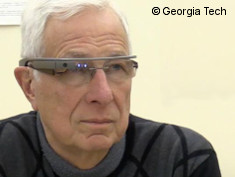 Photo: A hard-of-hearing person wears smart glasses