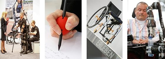 Photo: robot arm, hand with pen and ball, wheelchair; Copyright: Messe Düsseldorf/ctillmann
