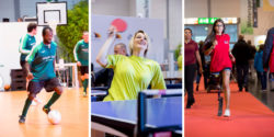 Photo: Soccer player, woman playing wheelchair table tennis and young female runner with a prosthesis; Copyright: Messe Düsseldorf