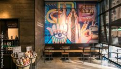 Photo: A mural developed by a deaf artist represents the link between Deaf Community and love for coffee; Photo: Joshua Trujillo | Starbucks Stories
