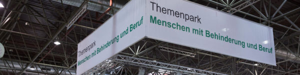 Photo: Banner of the focal park in the exhibition hall with the inscription of the focal park in German