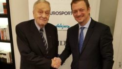 Photo:  FIS President Gian Franco Kasper and IPC President Andrew Parsons at the signature of the new FIS-IPC agreement; Copyright: IPC
