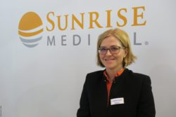 Photo: Leticia Voland Aguilar at the booth of Sunrise Medical; Copyright: beta-web/Schlüter
