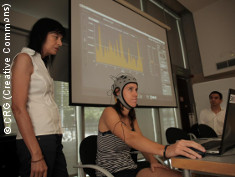 Photo: A participant sits during the brain polyphony demo