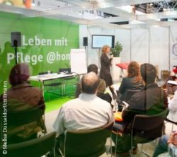 "Photo: Speaker in the Forum ""Living with care @home""; Copyright: Messe Düsseldorf/ctillmann"