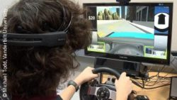 Image: An adolescent boy uses a driving simulator; Copyright: Michael Todd, Vanderbilt University