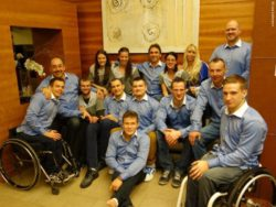 Photo: Wheelchair basketball players with Bivolino shirts; Copyright: Lutz Leßmann
