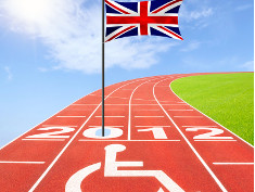 "Photo: British flag and ""2012"" on cinder track"