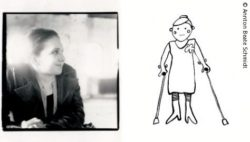 Photo of Annton Beate Schmidt and a drawing of her; Copyright: Annton Beate Schmidt