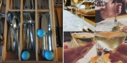Photo collage: Cutlery drawer with gripoballs in it. GripoFix clear in use in a restaurant; Copyright: Gripoballs