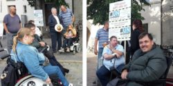 Photo: Collage of two photos with people during the demonstration in Rostock; Copyright: beta-web/Lormis