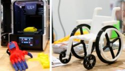 Photo collage: 3D printer with a printed hand and a small model wheelchair printed using 3D printing; Copyright: Messe Düsseldorf/ctillmann