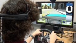 Image: Adolescent boy uses a driving simulator; Copyright: Michael Todd, Vanderbilt University