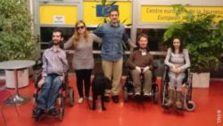 Photo: Five people with different disabilities; Copyright: ENIL