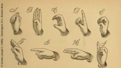 Photo: Historic sign language alphabet; Copyright: Gordon, Joseph C. (1886). . Washington, D.C.: Bretano Bros.