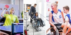 Photo collage: Woman playing table tennis in a wheelchair, woman using stair lift system, young woman playing wheelchair basketball; Copyright: Messe Düsseldorf / ctillmann