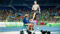 Photo: German long jumper Markus Rehm in the air while jumping; Copyright: Andi Weiland | Gesellschaftsbilder.de