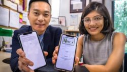 Photo: Assoc Prof Ho and Ms Dutta showing their therapy app into the camera; Copyright: NTU Singapore
