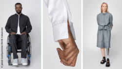 Photo collage: Male model in a wheelchair and female model with prosthetic leg in clothes from MOB Industries, as well as close-up of a shirt sleeve; Copyright: Jakob Gsöllpointner/MOB Industries