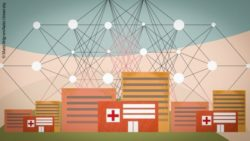 Image: Illustration of a network over a hospital; Copyright: Matti Ahlgren/Aalto University