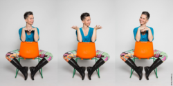 Photo: Betty Schätzchen in 3 different poses on a chair; Copyright: Annette Koroll