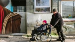 Photo: Man shoves a woman in a wheelchair; Copyright: Heike Günther