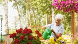 Photo: Elderly woman watering flowers outside; Copyright: panthermedia.net/DesignPicsInc
