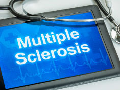 "Photo: A tablet showing the words ""multiple sclerosis"""