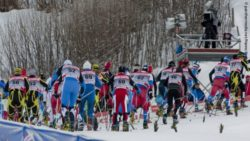 Photo: Sprint situation during a men's nordic skiing cup; Copyright: panthermedia.net/Hanns Krebs