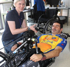 Phto: Handbiker and researcher
