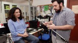 Photo: Researchers with the mechanized cane; Copyright: University of Malaga
