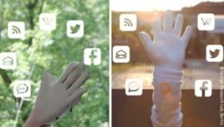 Photo: Lorm Glove, Lorm Hand and Social Media icons