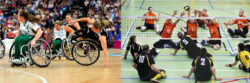 Photo: wheelchair basketball star Annika Zeyen; Copyright: Annika Zeyen; and the mixed German and Netherlands sitting volleyball team; Copyright: Michael Overhage