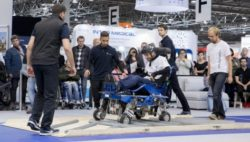 Photo: Participant of the CYBATHLON Experience 2017 overcomes obstacles on the ground with his electric wheelchair during the course
