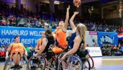 Photo: Women's finals wheelchair basketball 2018 between Netherlands and Great Britain; Copyright: Uli Gasper