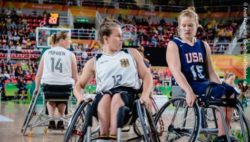 Photo: Two player of the German wheelchair basketball team during their Rio 2016 match against the USA. Marina Mohnen is left; Copyright: Andi Weiland | Gesellschaftsbilder.de