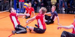 Photo: Sitting volleyball player in action in the Sports Center; Copyright: Messe Düsseldorf