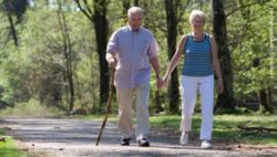 Photo: Elderly walking couple in a park; Copyright: panthermedia.net/Fotosmurf