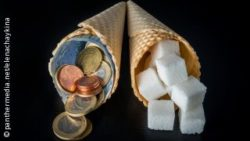 Photo: Two ice cream cones next to each, one is filled with sugar, one with money; Copyright: panthermedia.net/elenachaykina