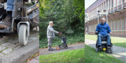 Photo: wheelchair user is rolling over grass and stones, elderly using a walker; © DFKI