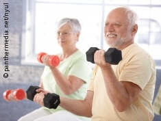 Photo: Elderly people during strength training