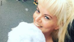 Photo: Katja Alekseev with cotton candy; Copyright: private