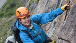 Photo: Anja Hebel while climbing; Copyright: private