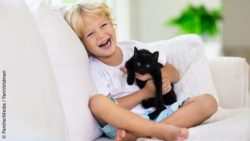 Photo: a boy is sitting on a couch and holding a black cat in his arms; Copyright: PantherMedia / FamVeldman