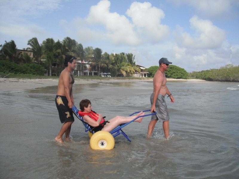 Photo: Special wheelchair in the water; © Ecuadorforall