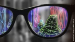 Photo: Graphic representation of what a patient sees when wearing an augmented reality low vision aid; Copyright: Scott Song/USC Roski Eye Institute