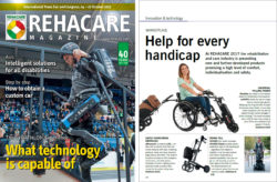 Image: Cover and content page of the REHACARE Magazine 2017