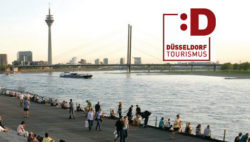 Photo: River Rhine bank in Düsseldorf and logo of our partner Düsseldorf Tourismus GmbH
