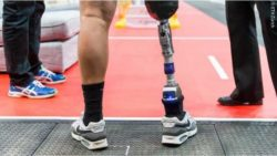 Photo: A competitor of Cybathlon with a prosthetic leg at the starting line of the course; Copyright: ETH Zürich