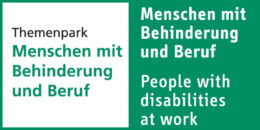 "Foto: Logo theme park ""People with disabilities at work""; Copyright: Fair Düsseldorf"